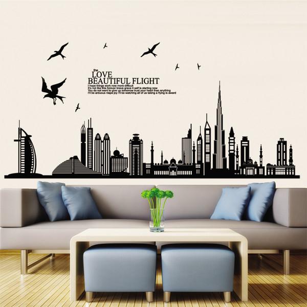 Urban Landscape high rise birds DIY kids wall stickers for home decoration Wallpaper background Art Decals creative wallpaper