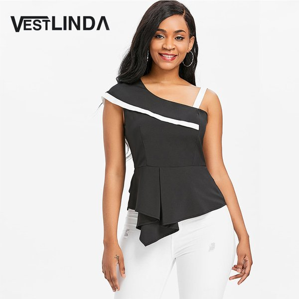 VESTLINDA One Shoulder Skew Neck Peplum Asymmetrical Black Blouse Womens Tops and Blouses Summer Top 2018 Clothes Blouse Shirt