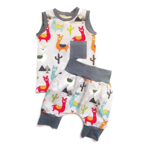 2 Adet Güzel Toddler Bebek Erkek Kız Elbise Karikatür Alpaka Tops Kolsuz Yelek Kısa Sevimli Pantolon 2018 Yaz Moda Kıyafet Seti