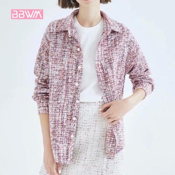 Elegant Women 2018 Autumn Women's New Small Fragrance Tweed Long Sleeve Lapel Beaded Buttons Joker Jacket Tops