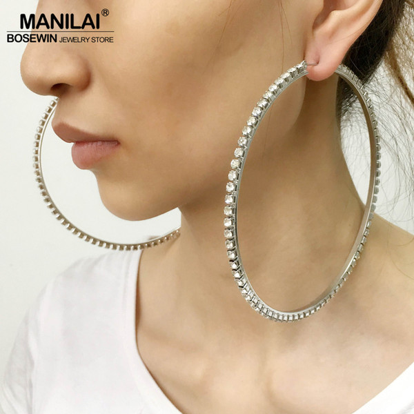 whole saleMANILAI Luxury 100mm Diameter Big Crystal Hoop Earrings Statement Jewelry Rhinestones Earrings For Women Wedding Brincos 2017