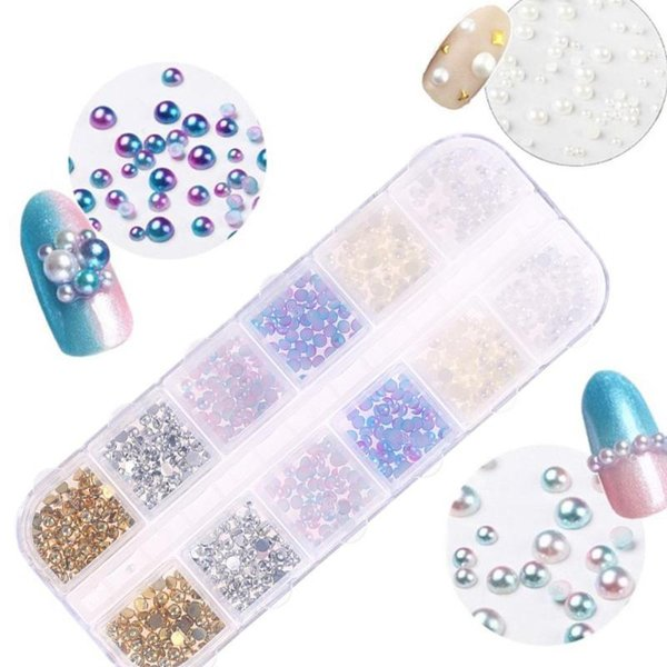 1box Nail Art Rhinestone Diamond 3D Colorful Paint Nail Sequins Water Drill Pearl Crystal Sequins Tools for DIY Decoration