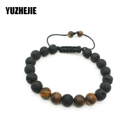 Lava Stone Bead adjustable Bracelet Men 8mm Tibetan Buddha Yoga Mala Rosary Beads Bracelets For Mens and Women Jewelry Wholesale