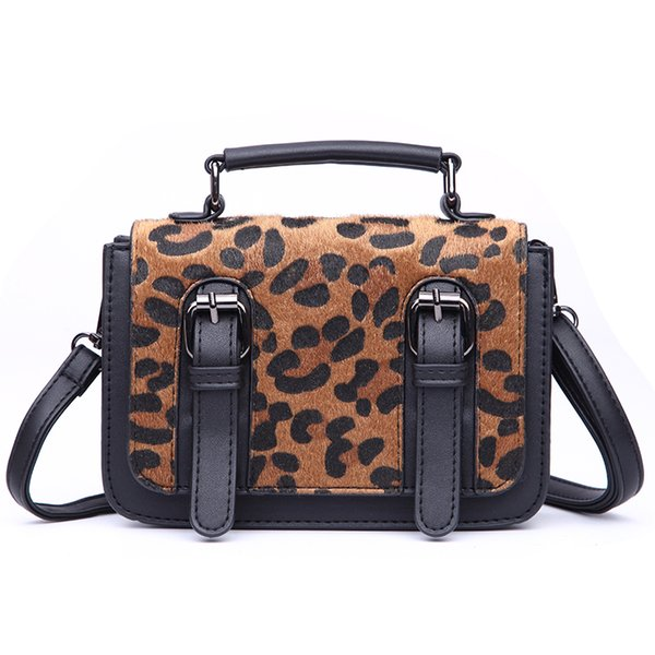 Leopard-print portable small messenger bags for women new korean style shoulder bag square clutches ladies pu leather sac a main