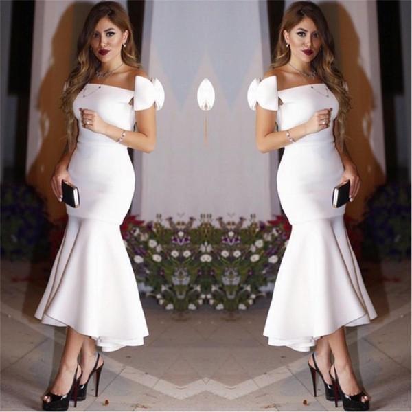 2018 Arabe Dubaï Sexy Trompette Robes De Cocktail De Sirène Pas Cher Hors Épaules Volants Longueur De Thé Formelle Soirée Robes De Soirée Hi Lo Bow Personnalisé