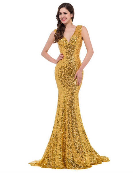 Sexy golden sequins sparkling deep V-neck shoulder straps with 7 slices of fish-tail and buttock dress tailored for a prom dress