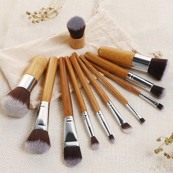 Hot New makeup brushes Tools 11pcs Bamboo stalk Cosmetic Brushes set High Quality DHL shipping+Gift