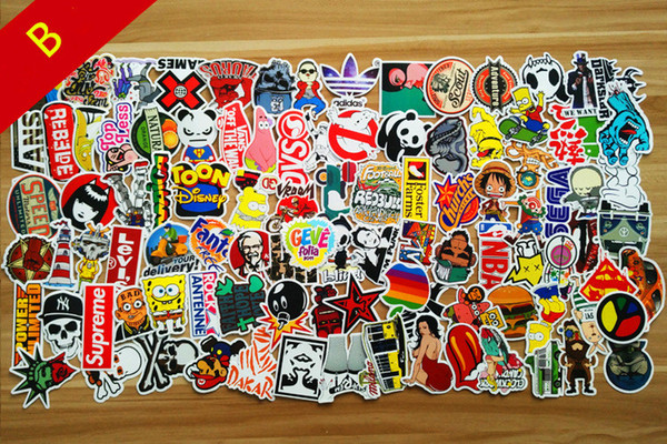 best selling Popular Sale 100PCS   Pack New Car Stickers Skateboard Guitar Travel Case bicycle motorcycle sticker Car decal individuality fashion sticker