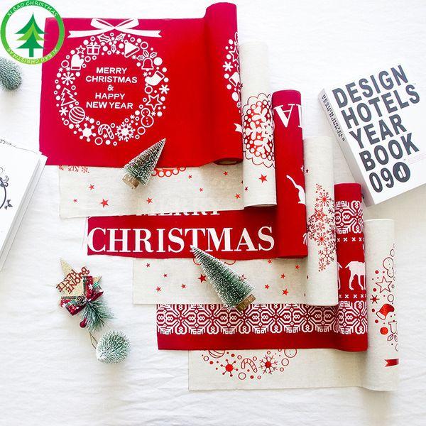 Lo nuevo Jingle Bells Christmas Table Runner Red White Elk Copo de nieve mantel Decoraciones de Navidad Home Party Dinner Table Decor