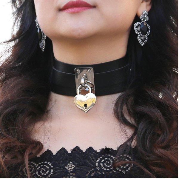 Silber Farbe Metall Herz Schloss Halskette übergroßen Kragen Goth Halskette für Frauen Gothic PU Leder Chocker Punk Schmuck