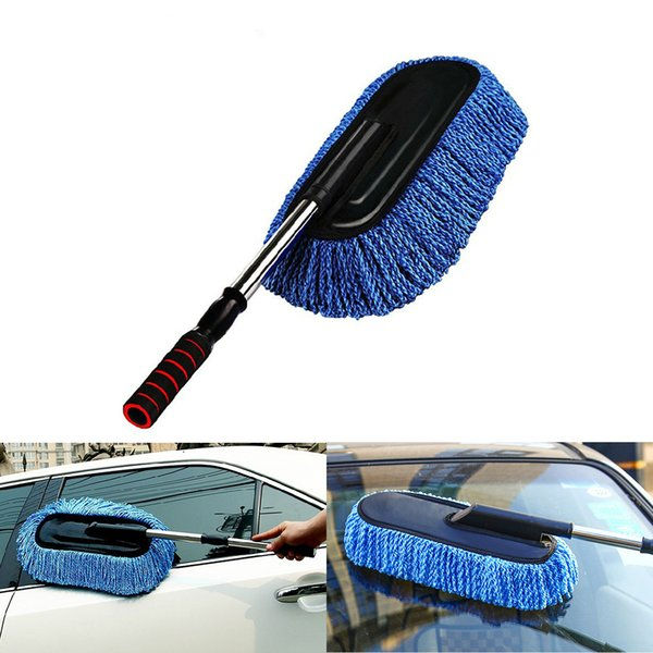 Microfiber Car Duster Brush Cleaner Cleaning Kit with Long Extendable Handle for Bike Home Auto Dash Dusting Brush Towing Bar