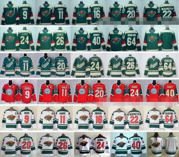 Camisolas de Hóquei no Gelo do Minnesota Wild Stadium Série 9 Mikko Koivu 11 Zach Parise 16 Jason Zucker 22 Nino Niederreiter 40 Devan Dubnyk 64 Mikael