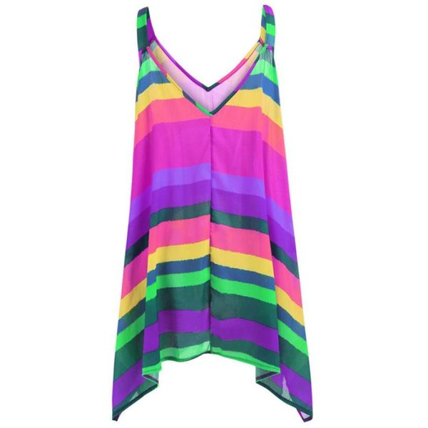FEITONG Tank Top Women 2018 Summer Female Ruffle Striped Chiffon Casual V-neck Sleeveless Beach Tops Vest Sexy Haut Femme May812