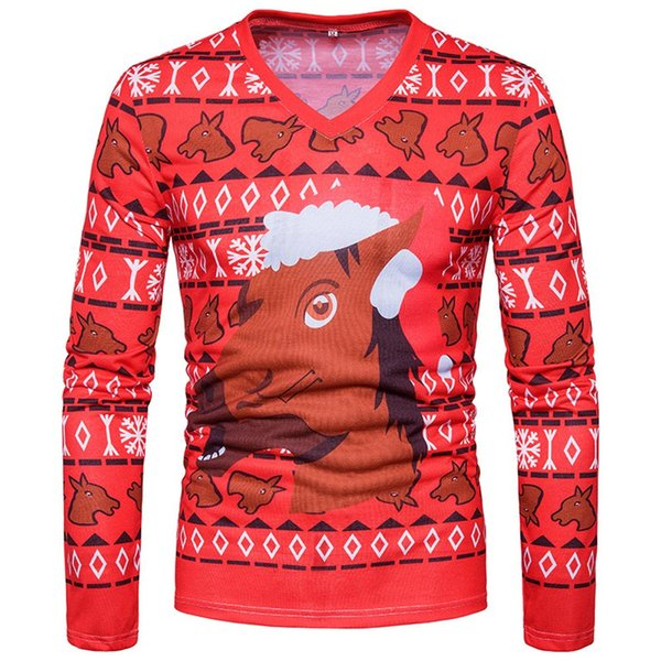 Sunfree Christmas Main Product Winter Autumn Man Fashion Casual Blouse Hot Selling Cool Boy Red Print Tops Quality Pullover 3L60