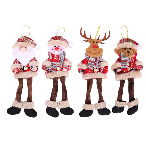 Christmas Ornaments Dolls Santa Claus Snowman Reindeer Hanging Pendants New Year Christmas Decoration for Home Christmas Tree D18110802