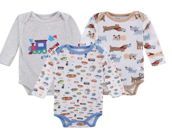 Fashion 100% Cotton 3 PCS/lot Newborn Bodysuits Unisex Long Sleeve Baby Jumpsuit O-neck 0-12M Rompers Baby Clothes