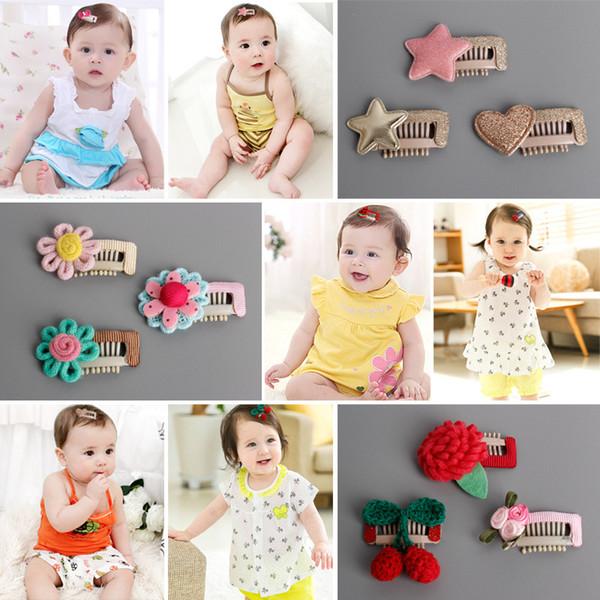 18 styles Handmade Hair Clip Kids Hairpin Children barrette star heart flower bowknot Headwear Girls Hair Accessories Free shipping SEN324