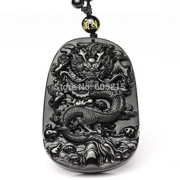 100% NATURAL OBSIDIAN CRYSTAL PENDANT CARVING Dragon pendant