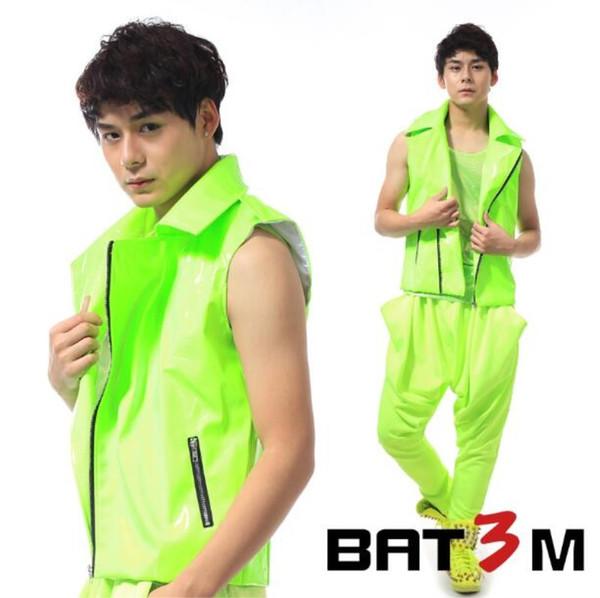 Homens traje colete verde jaqueta de couro cantor bailarino partido prom Ds moda masculina de roupas de neon verde super quente traje da motocicleta