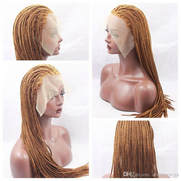 Hot Sexy Braids 30# Blonde Braided Wigs with Baby Hair Cheap Braiding hair Heat Resistant Glueless Synthetic Lace Front Wigs for Black Women