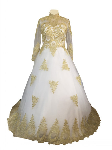 Stunning Gold and White Wedding Dress with Long Veil Luxury V Neck Lace and Beading Ball Gown Bride Dresses robe de mariage