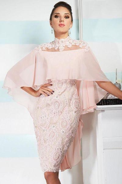 2019 Sexy Mutter aus Brautkleider High Neck Pink Chiffon Spitze Applique Perlen mit Cape Custom Sheer Zurück Hochzeit Plus Size Mütter Kleid