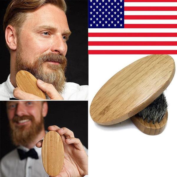Natural Boar Hair Bristle Beard Mustache Brush Shaving Comb Face Massage Round Wood Handle Handmade Brushes