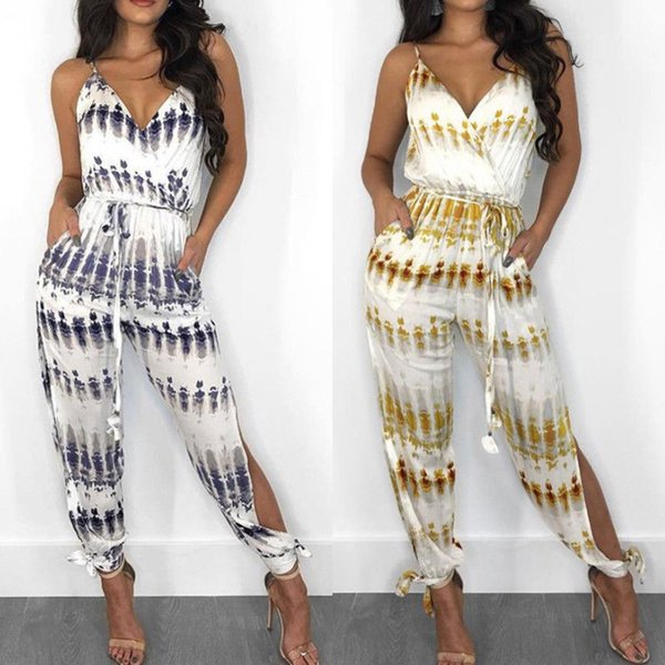 Women Jumpsuit Clubwear Playsuit Bodysuit Party Jumpsuit Sleeveless V neck Romper Chiffon Long Trousers