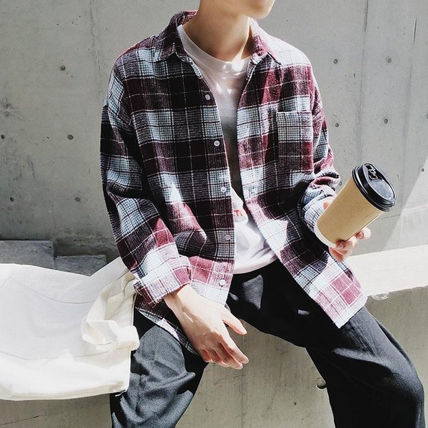 2017 Autumn man's All-match loose Plaid leisure long sleeves shirt Cotton fashion trend men's coat red/grey M-2XL FREE SHIPPING