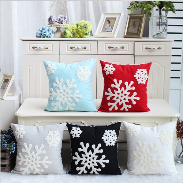 Snowflake 100%Cotton Embroidery Pillow Case Christmas Cushion Cover /Decorative Sofa Home Decor Pillowcase Bed Car Cushion Cover