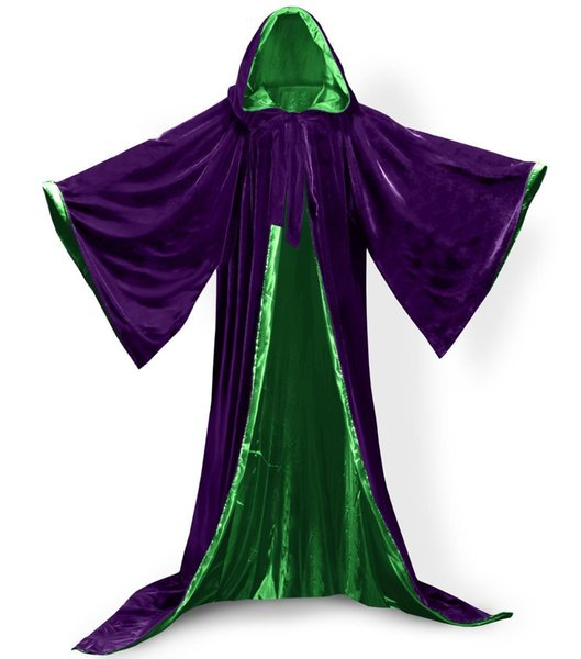 Long Sleeves Velvet Hooded Cloak Wedding Cape Cape Wedding Wicca Medieval Halloween Vampire Velvet Cosplay Hooded Cape Women Mens