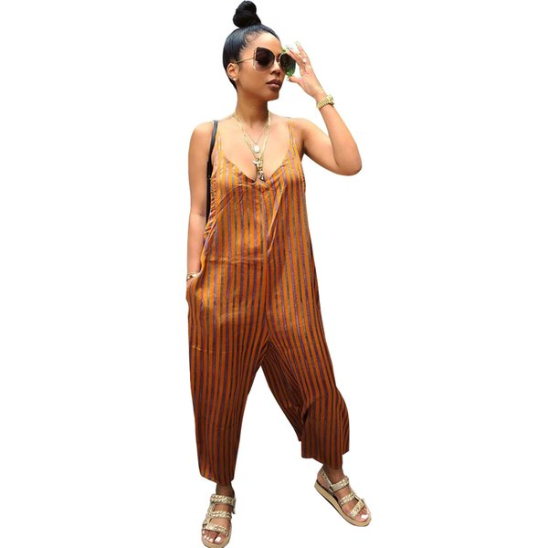 1d7696bc60a4 nice jumpsuits Coupons - Summer Fashion Sleeveless Loose Jumpsuit Women  Sexy Print Striped Party Romper Womens
