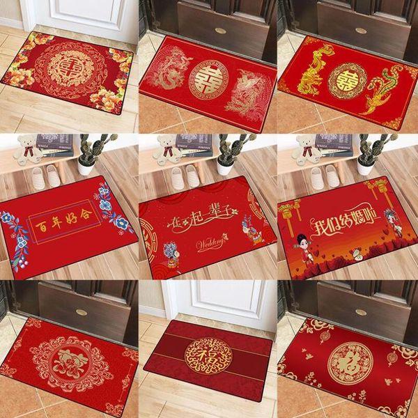 Anti-Skid Chinese jubilant Wedding Red Carpet Bedroom Bedsides Floor mats Coffee Table Foot pad Entrance Gate Door mat Rug Easy wash