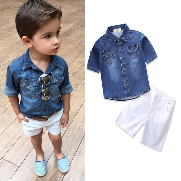 Ins Boys 2 Sets Kids Clothing 2018 Summer Short Sleeve Denim shirts Shorts Pants 2Sets 17