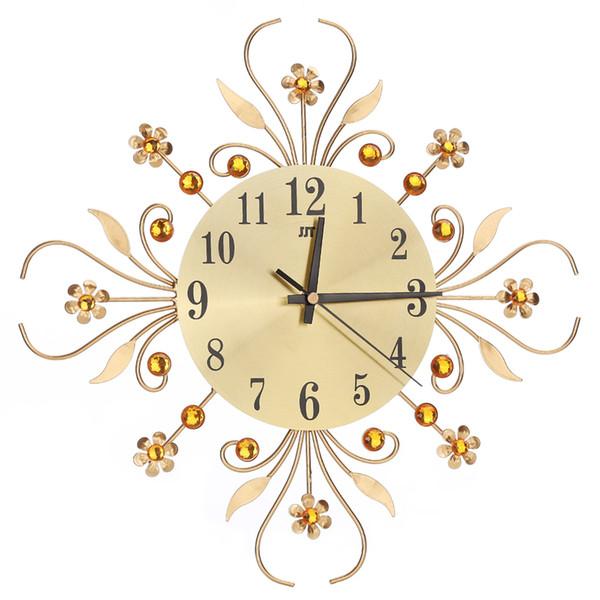 Luxus Diamant Blume große Wanduhr Vintage Metall Kunst Wanduhr Wohnzimmer Stille Schlafzimmer modernes Design Home Decor Clock