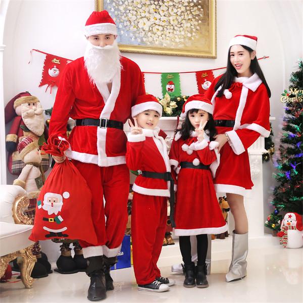 2018 рождественский костюм для детей Санта-Клаус косплей одежда набор мальчиков девочек партии костюмы Рождество семьи соответствующие наряды