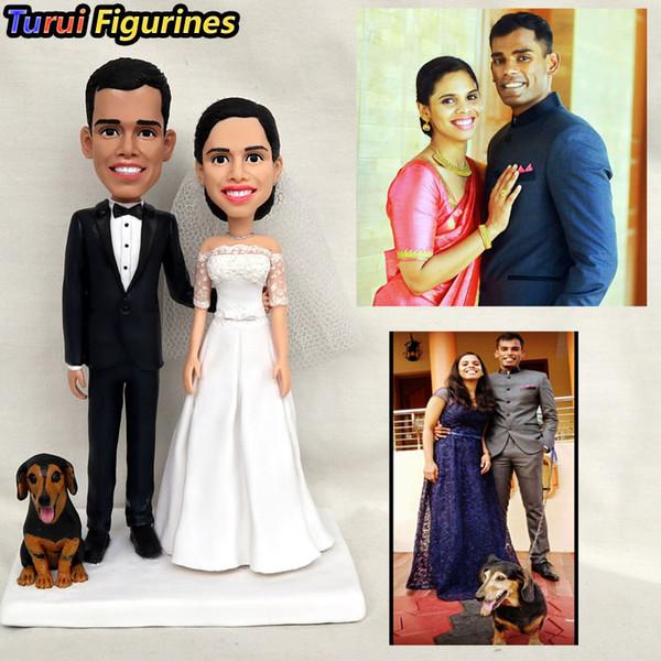 Turui Figürinler Brinquedos ücretsiz Kargo Özel Düğün Hediye Doğum Günü Sizin Polimer Kil Figürler Sizin Fotoğrafa Dayalı Bir Mini Versiyonu