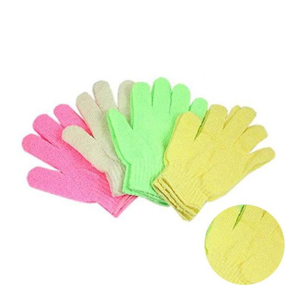 LUOEM 1 Pair Shower Bath Gloves Exfoliating Wash Skin Spa Massage Scrub Body Scrubber Glove (Random Color)