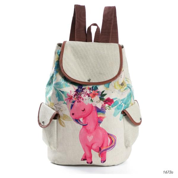 Meloke 2018 nuevo Lienzo Mochila Mujer Unicornio patrón mochilas escolares mochila vintage Gran Capacidad Laptop Bag M370