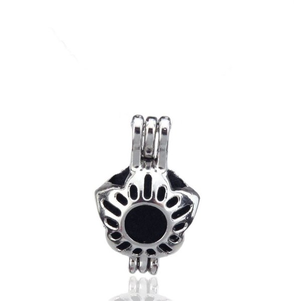 10pcs/lot Silver Alloy Mini Flower Beauty Oysters Beads Cage Locket Pendant Aromatherapy Perfume Essential Oils Diffuser