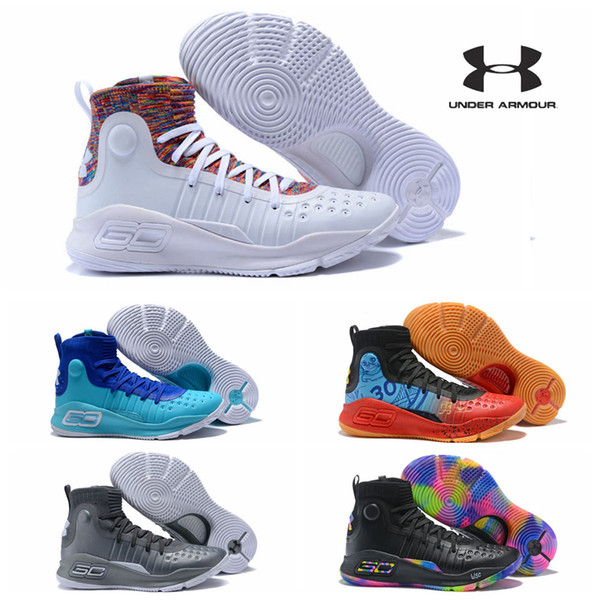 Under Armour Curry 4 Two BHM Sport Men Basketball Shoes Final Curry4 On Foot Outdoor Athletic Cushion Sneakers Shoe Shops Cheap Basketball Shoes From