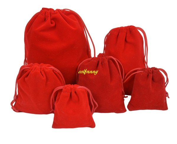 50pcs/lot 5*7cm 7*9 9*12cm 10*15 13*18 20*30cm Velvet Bag Drawstring Pouch RED Color Jewelry Packing Bags Wedding Christmas Gift Bag