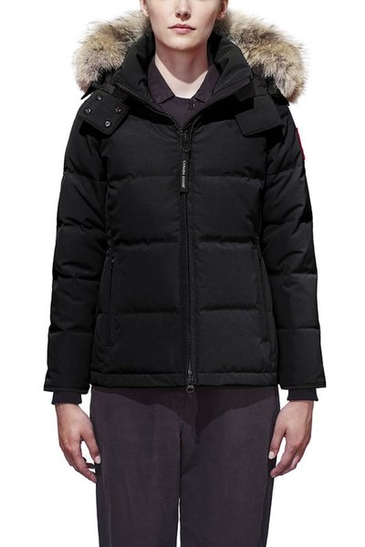 DHL Women Parkas WINTER CANADA Brand CHELSEA-1 Down & Parkas WITH HOOD/Snowdome jacket Real wolf Collar White Duck/GOOSE Outerwear & Coats