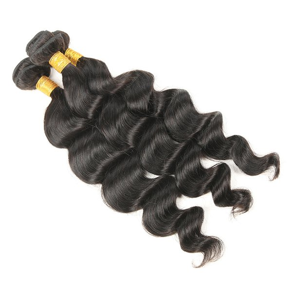 Peruvian Virgin Hair Loose Wave 3 Bundles 8A Unprocessed Loose Wave Wet and Wavy Human Hair Extensions Natural Black Free Shipping
