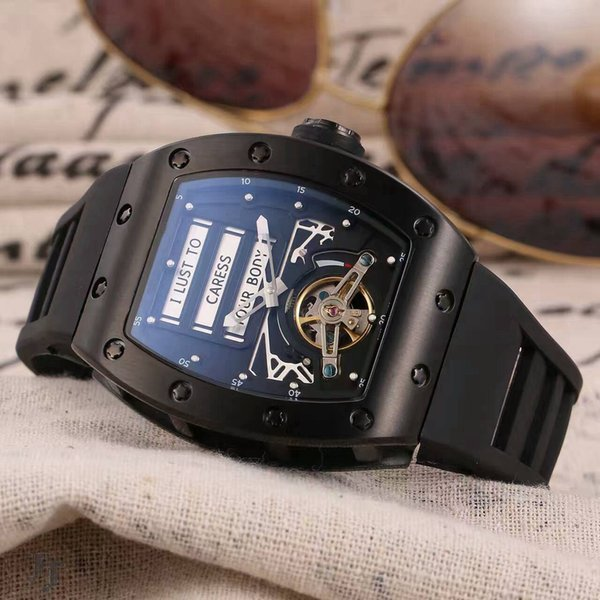 Top fashion brand men's watch 069Ti automatic flywheel movement 904 steel shell 43MM mineral glass natural rubber strap new listing