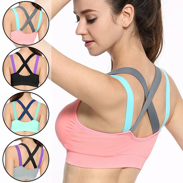 Sports Bra for Gym Padded Tank Top Athletic Vest Shockproof Strappy Bra Top