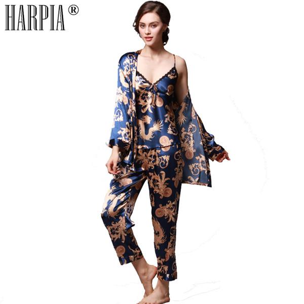 3 Stücke Sets Pyjamas Frauen Pyjama Silk Sexy Lady Nachtwäsche Weibliche Pyjamas Sexy Nachthemd Dessous Plus Größe xxxl Pyjama Femme