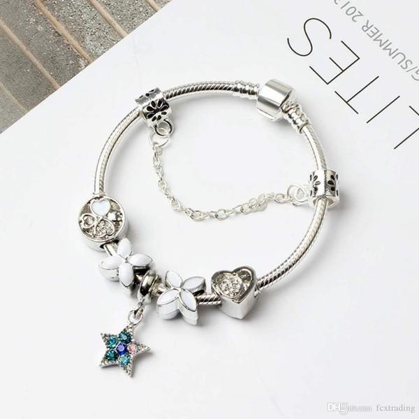 17+4CM New Fashion European Charm Beads Bracelets Pandora Style Bracelet 925 Sterling Silver Snake Chain Bangles DIY Jewelry with Logo
