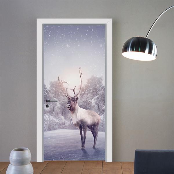 2pcs/set Creative Animal Deer Elk Christmas Door Stickers Painting Wallpaper Poster Wall Sticker Bedroom Living Room Home Decor