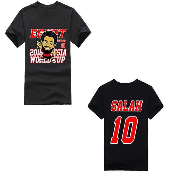 Salah No.10 2018 World Footballer A Group Egipto y manga corta rusa Algodón Moda Envío gratis T Shirt Cup Xxxtentacion